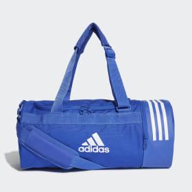 adidas - Convertible 3-Stripes Duffel Bag Small Bold Blue / White / White DT8646