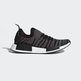 adidas - NMD_R1 STLT Primeknit Shoes Core Black / Grey Four / Solar Pink CQ2386