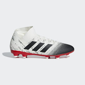 adidas - Bota de fútbol Nemeziz 18.3 césped natural seco Beige / Core Black / Active Red BB9437
