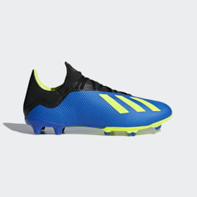 adidas - Bota de fútbol X 18.3 césped natural seco Football Blue / Solar Yellow / Core Black DA9335
