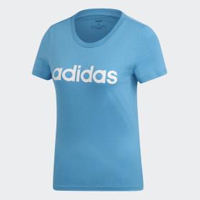 adidas - Essentials Linear T-Shirt Shock Cyan / White DU0630