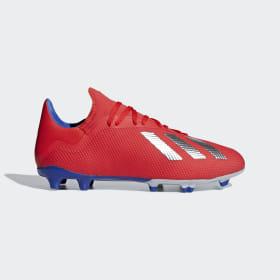 adidas - Bota de fútbol X 18.3 césped natural seco Active Red / Silver Met. / Bold Blue BB9367