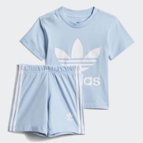 adidas Baby Girls Linear Short & T Shirt Set White