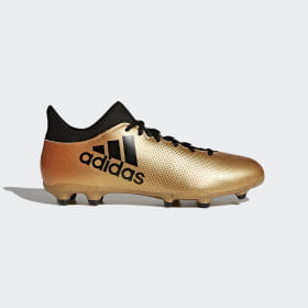adidas - Bota de fútbol X 17.3 césped natural seco Tactile Gold Met. / Core Black / Solar Red CP9190