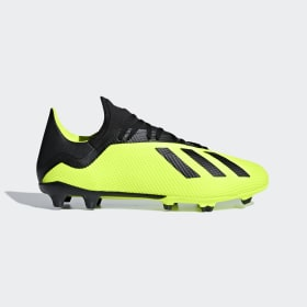 adidas - Bota de fútbol X 18.3 césped natural seco Solar Yellow / Core Black / Cloud White DB2183