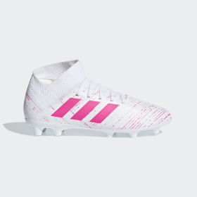 adidas - Bota de fútbol Nemeziz 18.3 césped natural seco Cloud White / Shock Pink / Shock Pink CM8506