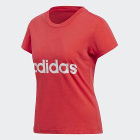 adidas - Essentials Linear Slim T-Shirt Real Coral / White CF8822