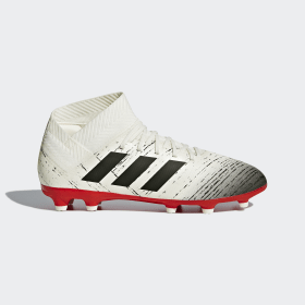 adidas - Bota de fútbol Nemeziz 18.3 césped natural seco Off White / Core Black / Active Red CM8508