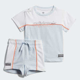 adidas Originals Logo Tee//Short Set Infant/'s White Orange