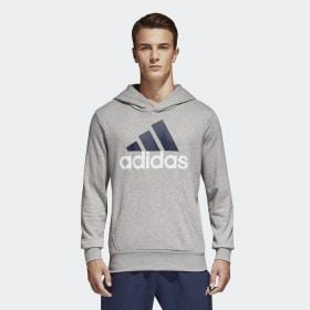 adidas - Sudadera con capucha Essentials Linear Pullover Medium Grey Heather S98775