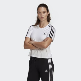 adidas Essentials Loose 3-Stripes Cropped Tee - White   GL0778 ...