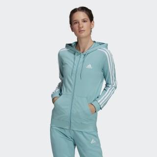 adidas Essentials Single Jersey 3-Stripes Full-Zip Hoodie - Green ...