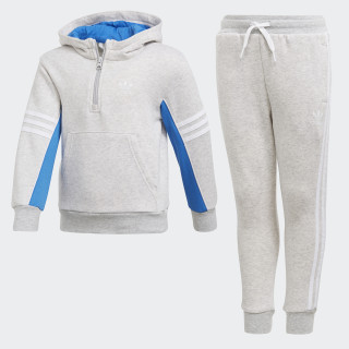 Conjunto Polera con Capucha Authentics LIGHT GREY HEATHER/BLUEBIRD/WHITE LIGHT GREY HEATHER/WHITE DH4824