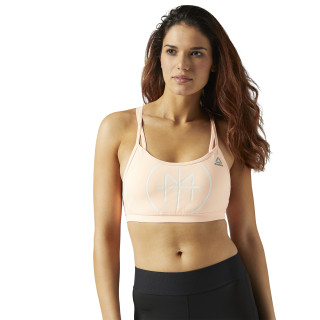 LES MILLS Hero Strappy Padded Sports Bra Peach Twist CE6671