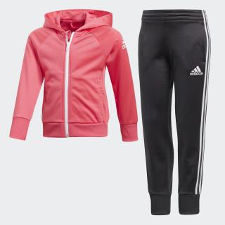 Little Girls Knitted Trainingsanzug Super Pink / White / White DJ1529