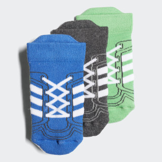 Socquettes (3 paires) Blue / Dark Grey Heather / Energy Green DJ2294