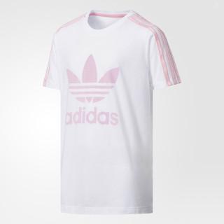 3-Stripes Trefoil Tee White / Light Pink CE5098
