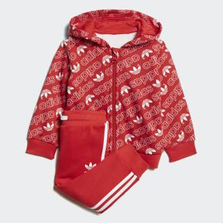 Trefoil Monogram Hooded Track Suit Collegiate Red / White DJ2700