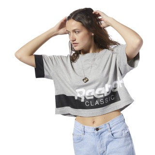 Classics  Cropped Tee Medium Grey Heather / White DH1320