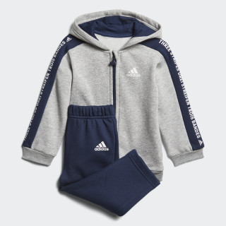 Linear Hooded Fleece Jogger Medium Grey Heather / Collegiate Navy / White DN8419