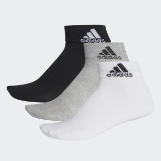 Meia Ankle Mid Thin - 3 Pares BLACK/MEDIUM GREY HEATHER/WHITE AA2322