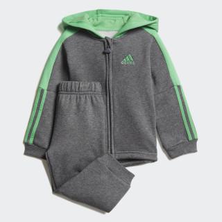 Logo Hooded Fleece Joggingpak Dark Grey Heather / Energy Green DJ1587