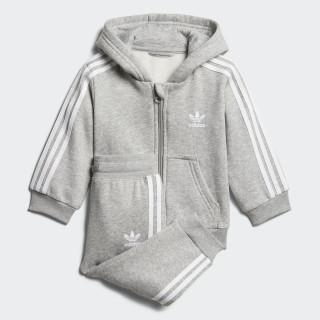 Trefoil Full Zip Hoodie Track Suit Medium Grey Heather / White D96097