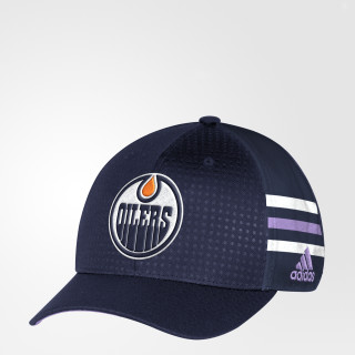 Casquette Hockey Fights Cancer Oilers Structured Flex Blue DB9947