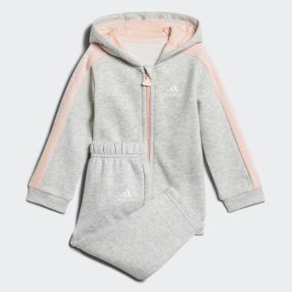 Linear Hooded Fleece Jogginganzug Light Grey Heather / Haze Coral / White DJ1547