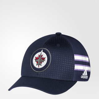 Casquette Hockey Fights Cancer Jets Structured Flex Blue DB9959