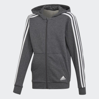 Essentials 3-Stripes hættetrøje Dark Grey Heather / White DJ1747