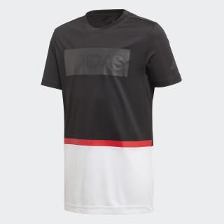 Polera de Training Colorblocked BLACK/WHITE/VIVID RED DJ1164