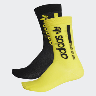 Kaval Solid Crew Socks 2 Pairs Black / Shock Yellow DM1697