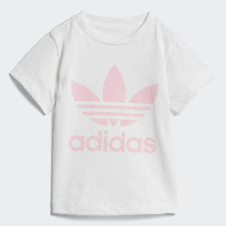 Camiseta Trefoil WHITE/LIGHT PINK D96102