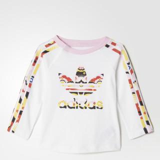Camiseta Cloud Ls Infantil WHITE/MULTICOLOR BQ4372