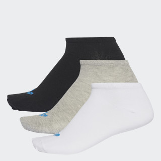 Trefoil Liner Socks 3 Pairs White/Black/Medium Grey Heather AB3889