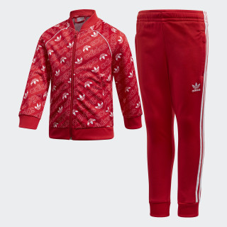 Monogram Trefoil SST Trainingsanzug Collegiate Red / White D98864