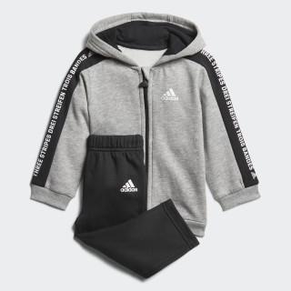 Linear Hooded Fleece Joggingpak Medium Grey Heather / Black / White DJ1546
