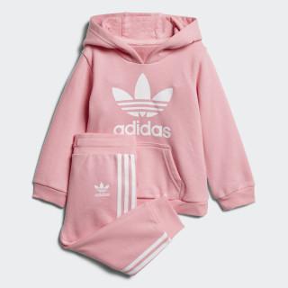 Conjunto sudadera con capucha y pantalón Trefoil Light Pink / White D96069