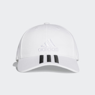 Six-Panel Classic 3-Stripes Hat White / White / Black BK0806