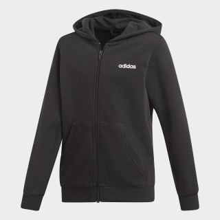 Essentials Linear Full Zip Hoodie Black / White DV1792