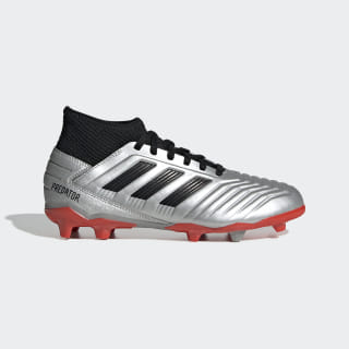 Scarpe da calcio Predator 19.3 Firm Ground Silver Met. / Core Black / Hi-Res Red G25795