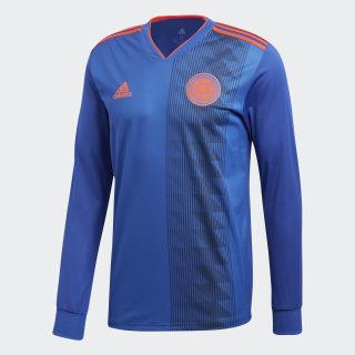 Camiseta Oficial Selección de Colombia Manga Larga Visitante 2018 Bold Blue / Solar Red BR3495