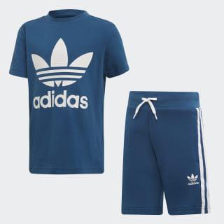 Conjunto Shorts Camiseta Trefoil Legend Marine / White DV2851