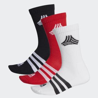 Football Street 3-Stripes Crew Socks White / Black / Scarlet FI9350