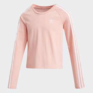 3-Stripes Cropped Long-Sleeve Top Glory Pink / White FN2748
