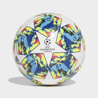 Balón UCL Finale 19 Capitano White / Bright Cyan / Solar Yellow / Shock Pink DY2553