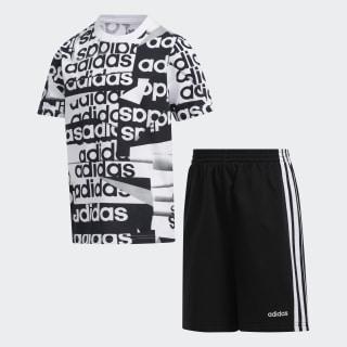 Print Tee and Shorts Set Black/Charcoal CM6877