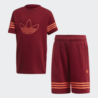 Outline T-shirt en Short Setje Collegiate Burgundy / App Solar Red FM4455