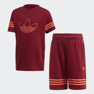 ชุดเสื้อยืดและกางเกงขาสั้น Outline Collegiate Burgundy / App Solar Red FM4455